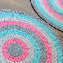 שטיח טורכיז אפורים וורוד בזוקה